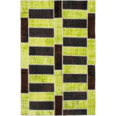 Hand-knotted Color Patchwork Black, Lime Wool Rug