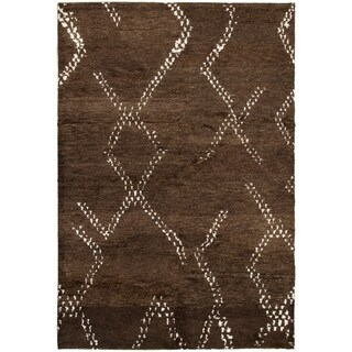 eCarpetGallery  Hand-Knotted Arlequin Dark Brown Wool Rug - 6'0 x 9'0