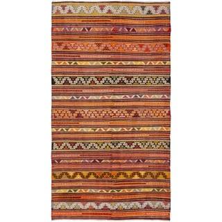 eCarpetGallery  Flat-weave Kashkoli FW Dark Red Wool Kilim - 5'8 x 10'7