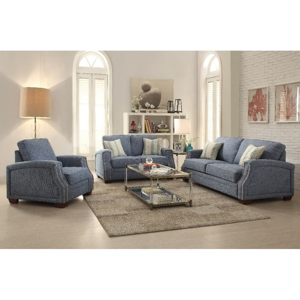Shop Bucovat 3 Pieces Sofa Set with 4 Accent Pillows in Light Blue ...