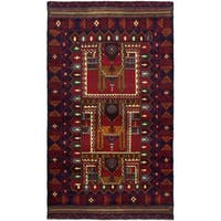 eCarpetGallery  Hand-Knotted Teimani Navy Blue, Red Wool Rug - 3'7 x 6'5