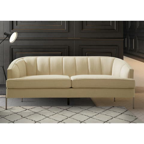 Chic Home Philo Barrel Back Linen-textured Sofa