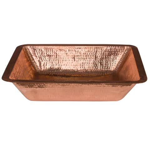 """Handmade 19"""" Under Counter Polished Copper Bathroom Sink (Mexico)"""