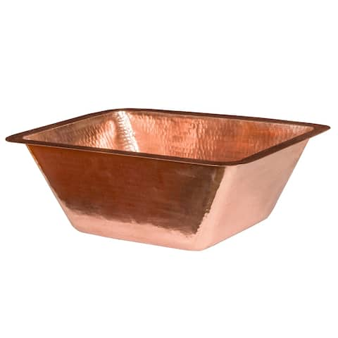"""Handmade 17"""" Under Counter Polished Copper Bathroom Sink (Mexico)"""