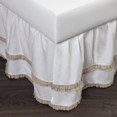Cottage Home Petra Ruffle Natural Cotton 3 Piece Tuck in Bed Skirt