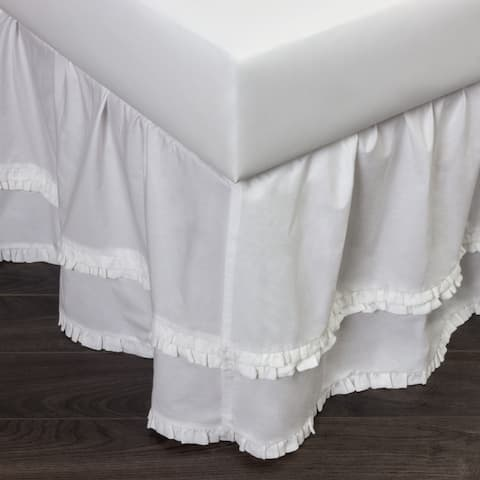 Cottage Home Petra Ruffle White Cotton 3 Piece Tuck in Bed Skirt
