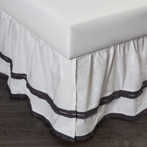 Cottage Home Petra Ruffle Steel Blue Cotton Bed Skirt