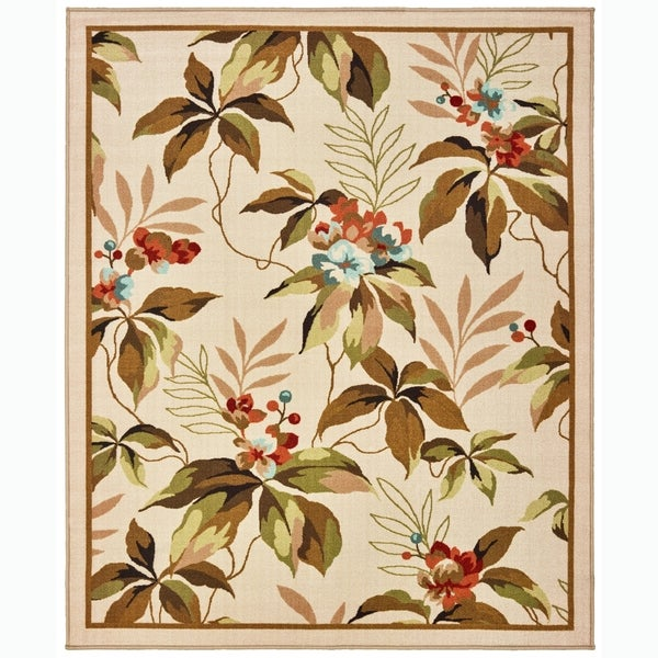Shop Border Floral Ivory Green Indoor Outdoor Area Rug 6