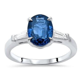 14k White Gold Oval Blue Sapphire 1 5ct Tapered Baguette Diamond Engagement Ring