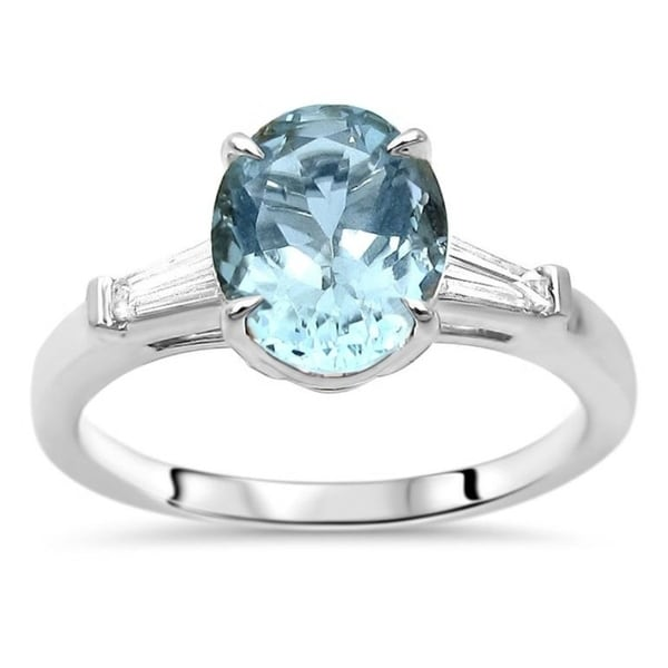 Shop 14k White Gold Oval 9x7mm Aquamarine & 1/5ct Tapered