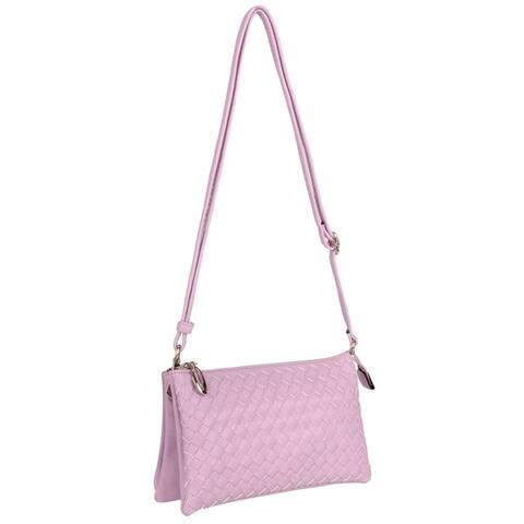 Women Fashion Cooper Weave Crossbody Clutch Travel Crossbody Bag - S