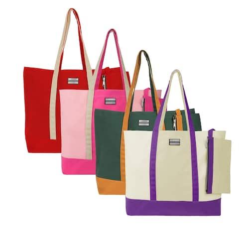 Top Handle Tote Bag Beach Bag with Removable Organizer Zipper Pouch