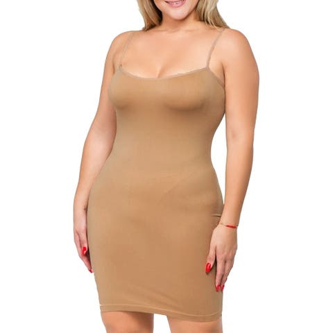 Women's Solid Plus Size Seamless Go-To Comfy Tank Top Dress