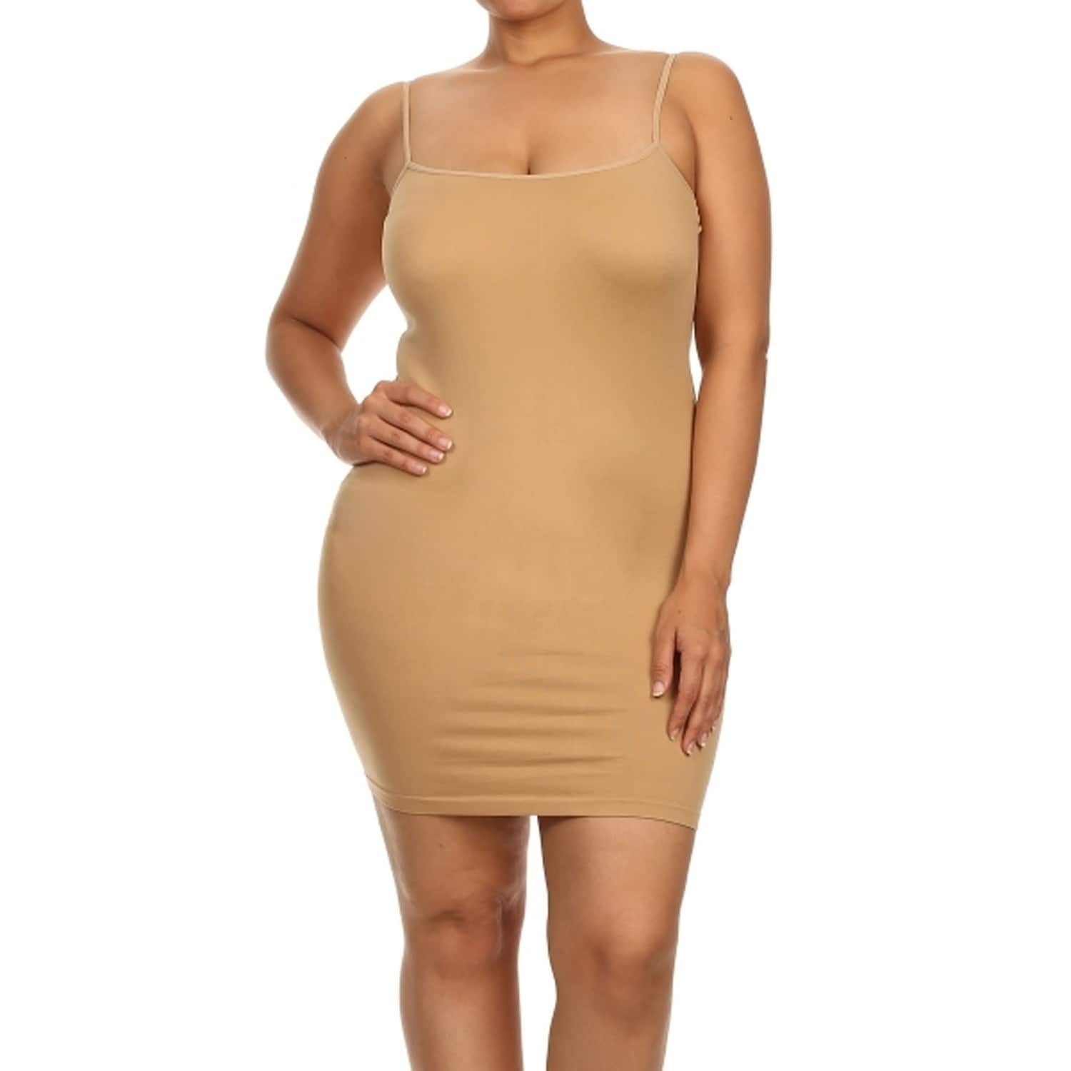 Women\'s Solid Plus Size Seamless Go-To Comfy Tank Top Dress