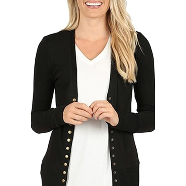 Women's Solid Basic Casual Long Sleeve Plus Size Sweater Cardigan
