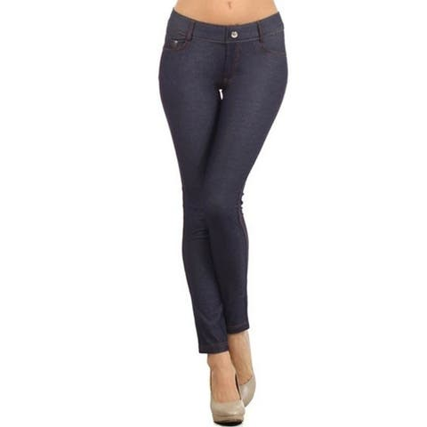 Women's Solid Casual Lightweight Stretch Comfort Pocket Jean Legging Pants
