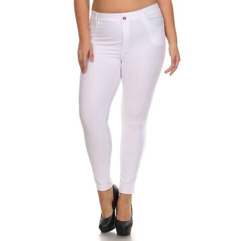 Women's Solid Casual Lightweight Stretch Comfort Pocket Jean Legging Pants
