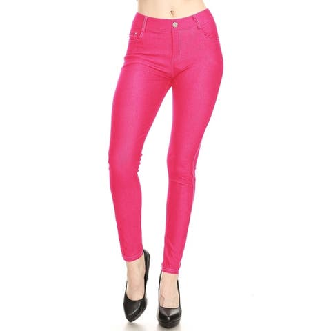 Women's Solid Casual Stretch Pocket Jean Legging Pants