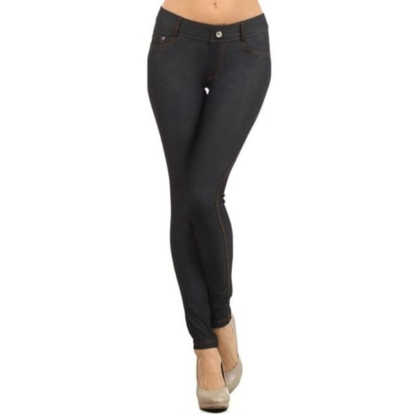 Women's Solid Casual Stretch Pocket Jean Legging Pants. Opens flyout.