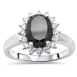 14k White Gold 2 Ct Tdw Oval Cut Black Diamond And Round Diamond Diana Style Engagement Ring