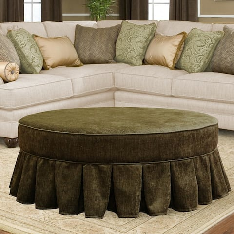Trusan 42-inch Round Moss Green Velvet Skirted Cocktail Ottoman