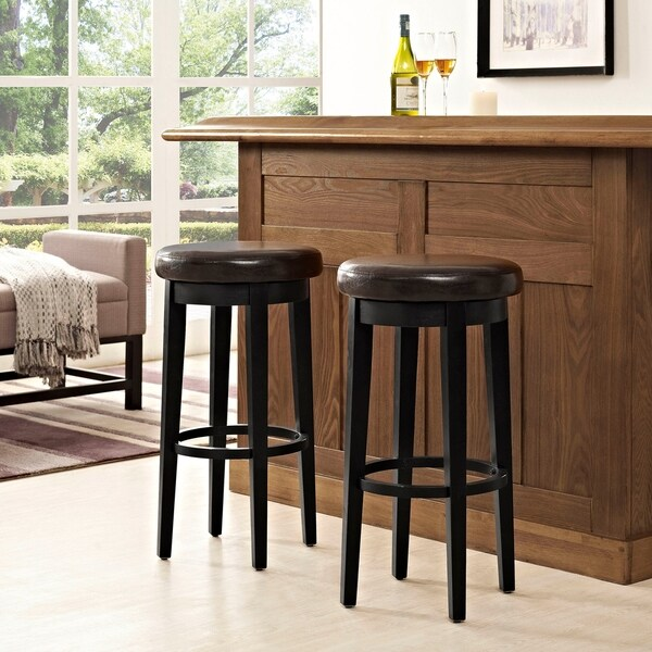 Shop Mitchell Swivel Bar Stool In Black With Brown Cushion