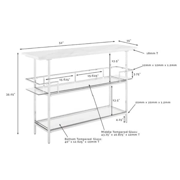 Shop Aimee Bar With Chrome Finish And Paper Marble Top - N/A