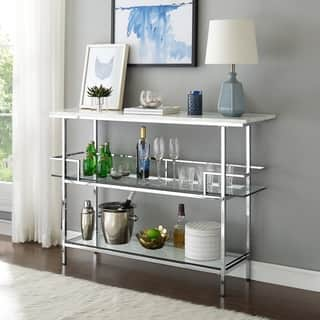 Aimee Bar With Chrome Finish And Paper Marble Top - N/A