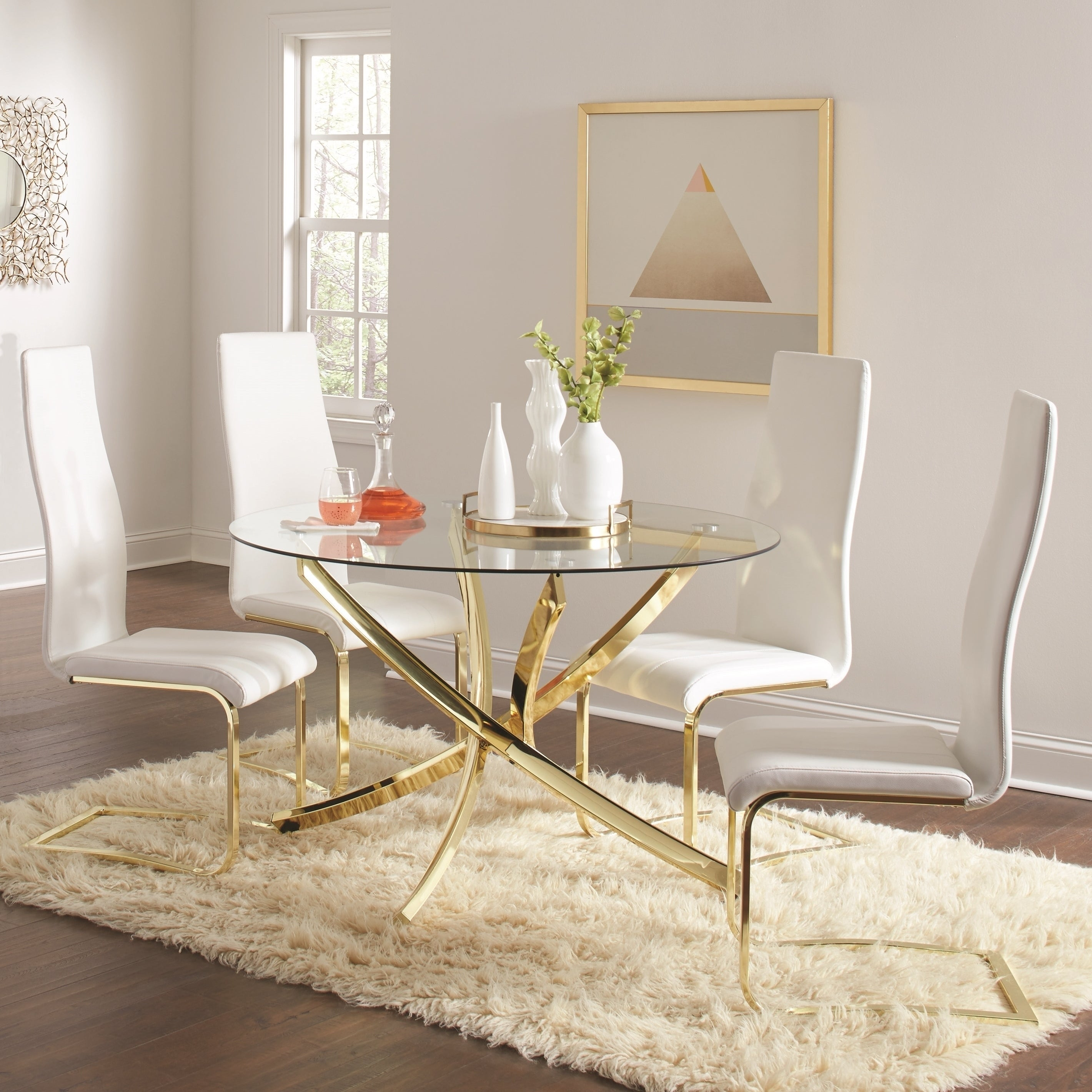 Glass Top Gold Metal Base Leatherette Chairs Modern 5 Piece Dining Set On Sale Overstock 26885919