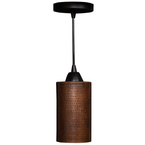 Hand Hammered Copper 4-in Round Cylinder Pendant Light