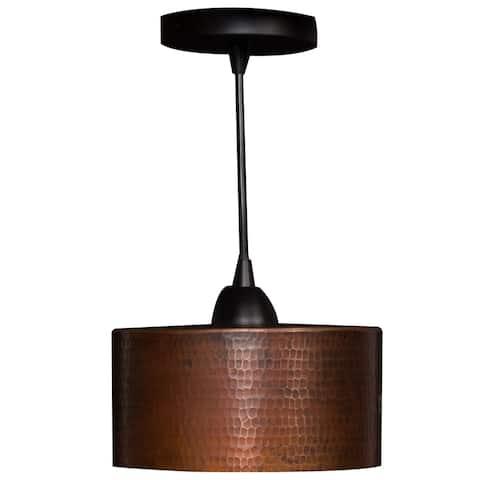 "Handmade 8"" Copper Cylinder Pendant Light (Mexico)"