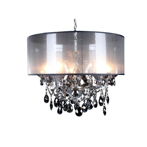 Chrome Metal Chandelier With Smoke Crystal Free Shipping Today 26886119