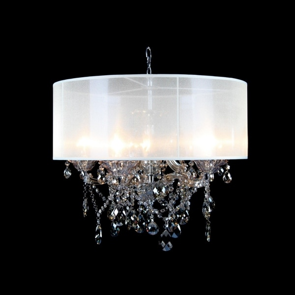 Chrome Metal Chandelier With Champagne Crystal Accents On Free Shipping Today 26886125