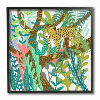 The Stupell Home Decor Bright Jungle Cheetah in the Canopy Illustration Framed Art, 12 x 12, Proudly Made in USA