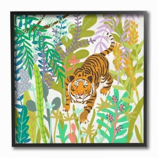 The Stupell Home Decor Bright Jungle Tiger in the Brush Illustration Framed Art, 12 x 12, Proudly Made in USA