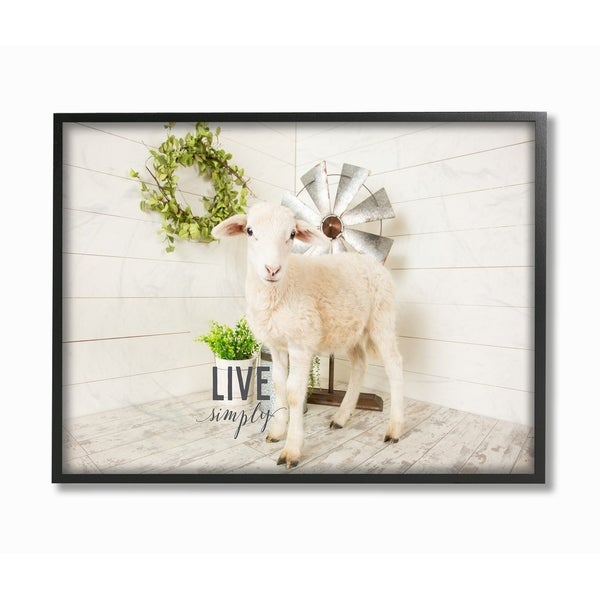 The Stupell Home Decor Live Simply Baby Sheep with Greenery Photograph  Framed Art, 11 x 14, Proudly Made in USA - Multi-Color