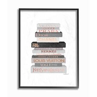 Silver Orchid Neutral Grey and Rose Gold Fashion Bookstack Framed Art - Multi-Color