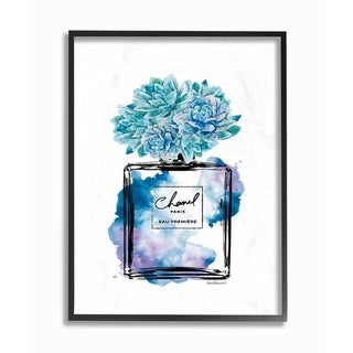 The Stupell Home Decor Watercolor Fashion Perfume Bottle with Blue Flowers Framed Art, 11 x 14, Proudly Made in USA