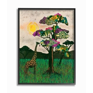 Porch & Den Giraffe with Bright Green Pink and Purple Collaged Trees Framed Art - Multi-Color