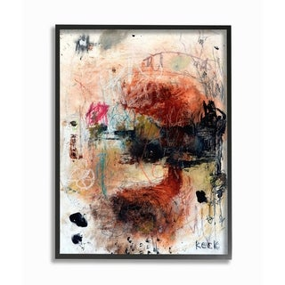 The Stupell Home Decor Black and Red Multimedia Abstract Painting with Crayon Framed Art, 11 x 14, Proudly Made in USA