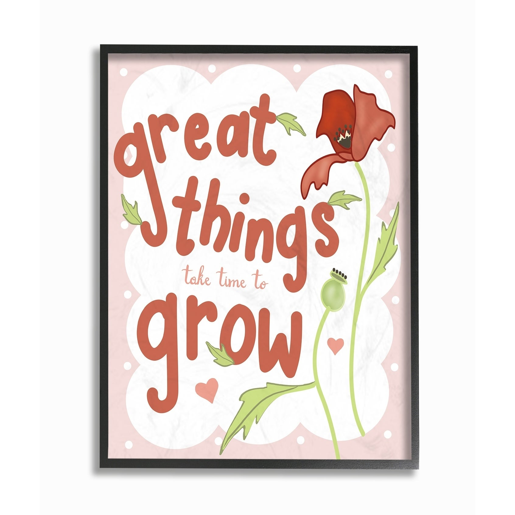 16 x 20 The Kids Room By Stupell Great Things Take Time to Grow Pink and Red Poppy Framed Texturized Art Proudly Made in USA