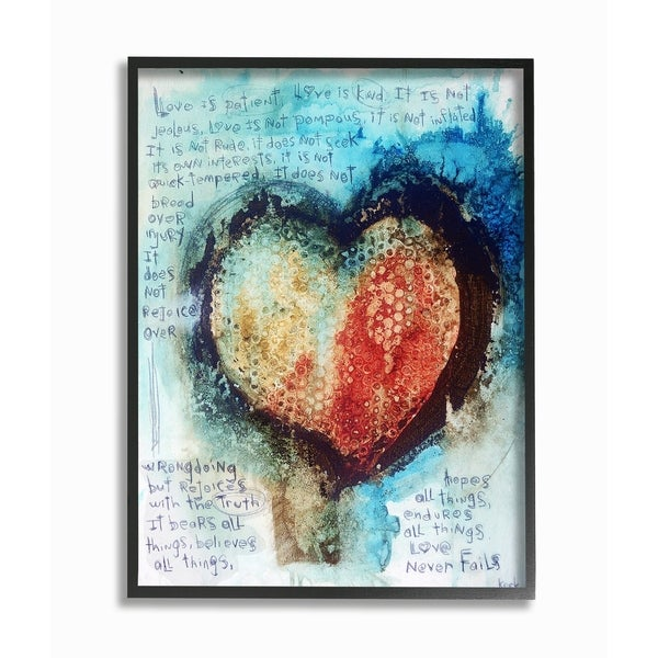 The Stupell Home Decor Red and Blue Painted Heart Over Words Collage Art Framed Art, 11 x 14, Proudly Made in USA - Multi-Color