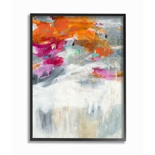 Porch & Den Bright Sky Grey Ground Orange and Pink Abstract Framed Art - 11 x 14