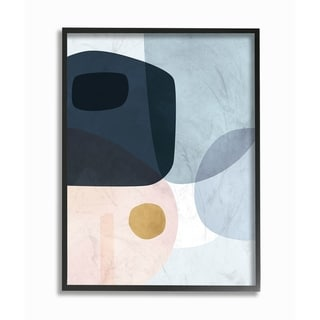 The Stupell Home Decor Mod Shapes Blue  Navy and Peach Overlapping Abstract Framed Art, 11 x 14, Proudly Made in USA
