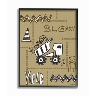 The Kids Room By Stupell Slow Yield Tan Dump Truck Construction Zone Framed Art, 11 x 14, Proudly Made in USA - Multi-Color