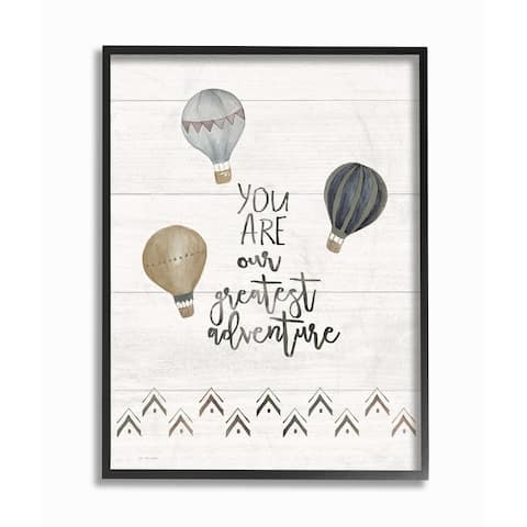 The Kids Room By Stupell Our Greatest Adventure Neutral Grey Hot Air Balloons Framed Art, 11 x 14, Proudly Made in USA