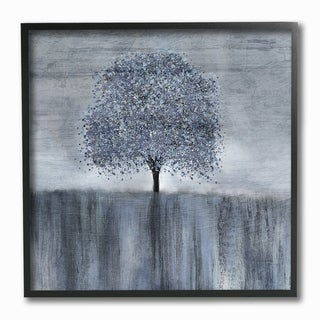 The Stupell Home Decor Neutral Grey Spotted Tree with Streaky Foreground Framed Art, 12 x 12, Proudly Made in USA