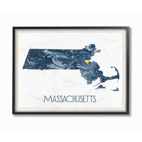 The Stupell Home Decor Massachusetts Minimal Blue Marbled Paper Silhouette Framed Art, 11 x 14, Proudly Made in USA