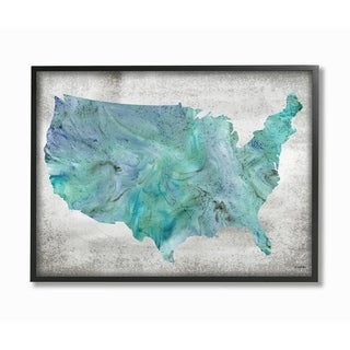 The Stupell Home Decor Inky Blue and Cyan Marbled US Map Silhouette Framed Art, 11 x 14, Proudly Made in USA - Multi-Color