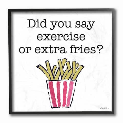 The Stupell Home Decor Exercise or Extra Fries Striped Fry Illustration Framed Art, 12 x 12, Proudly Made in USA